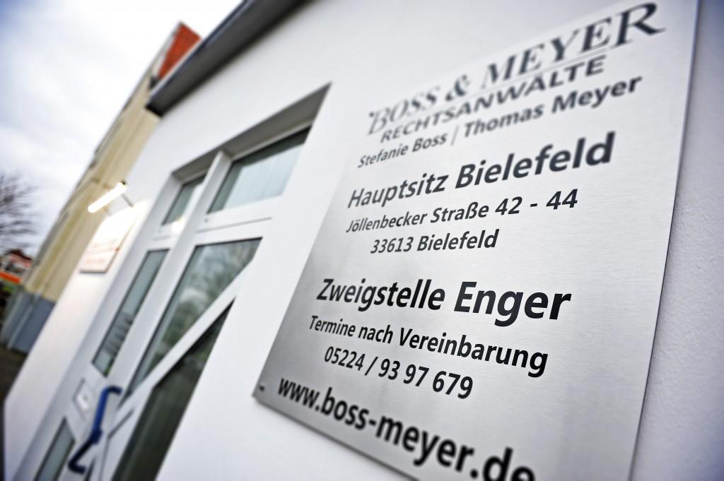 Die Zweigstelle Enger der Kanzlei Boss & Meyer von außen.